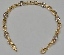 14k Solid Gold Fancy Puffed Mariner Link Bracelet 8.25 Inches Italy 7.4 Grams