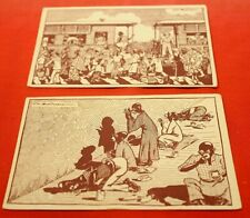 Rare early~2 Slavery~French Postcards~Ch Pooviau~Black/White Drawings Un Posted