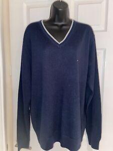 Tommy Hilfiger Golf Navy Blue Wool Blend Knitted V Neck Men's Jumper Size XL