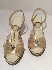 Vintage Lucite Rhinestone Slingback Heels 5Baa 1950's Peep Toe Wedding
