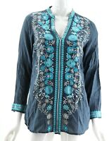 Johnny Was Biya Blue Gray Floral Embroidered Long Sleeve V-Neck Boho Blouse XS