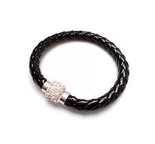 Modisches Shamballa Armband in Lederoptik mit Glassteinchen mit Magnetverschluss