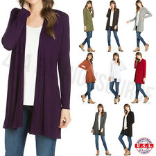 USA Women Long Sleeve Cardigan Open Front Draped Solid Casual Mid Length S ~ 3XL