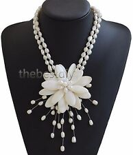 White shell pearl flower necklace mothers gift, wedding gift