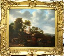 LARGE Fine 18th Century Classical Landscape Horses Dogs Antique Oil Painting