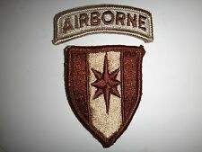 2 US Army Desert Tan Patches: AIRBORNE Tab + 44th MEDICAL Brigade