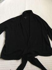 Womens *AB Studio* Black Open Shawl W/Tie Sweater/Cardigan Size XL/XLarge