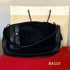BALLY Black Suede Shoulder Handbag Leather Trim and Tassels Dust Jacket Bag NEW