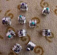10 Lot Spinner Ring Turquoise Amethyst 925 Sterling Silver Plated All Size B-351