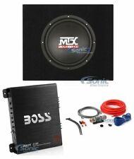 """MTX Audio 10"""" 300W Car Subwoofer + Truck Enclosure + Boss Amplifier + Amp Kit"""