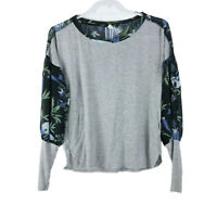 Tiny Anthropologie Women's Size M Floral Knit Polyester Balloon Sleeve Top Tee