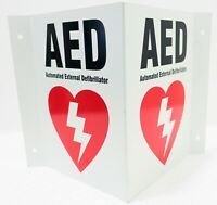 """AED Automated External Defibrillator Locator V-Shaped Large 10""""X8"""" 3D Sign"""