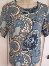 Ladies size 10 George blue cream beige mix summer smart top short sleeves