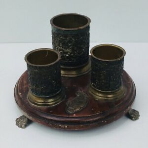 Candle holder Antique Looking wooden base with metallic brass color holders