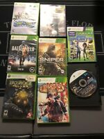 Xbox 360 Game Lot: Battlefield 3, Bioshock Infinite And 2, W/8 Games And MANUALS