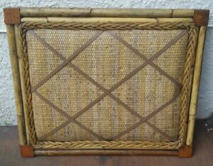 Vintage Boho Chic Memory Memo Note Board Natural Bamboo Wicker Leather Straps