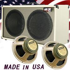 2x12 Guitar Spker Cabinet Ivory white Tolex W/Celestion Green Back speakers