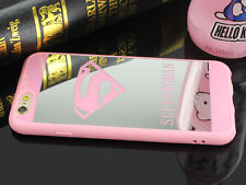 Superman Superwoman TPU Gel Blando Espejo Funda Para Iphone 5 5S 6 6S 7 Plus