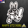 JDM Middle Finger Drift Rabbit Bunny RUDE Luggage Skateboard Vinyl Decal Sticker