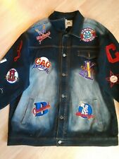 Negro Leagues Baseball Denim Jean Jacket Headgear Patches Size XXXL 100% Cotton