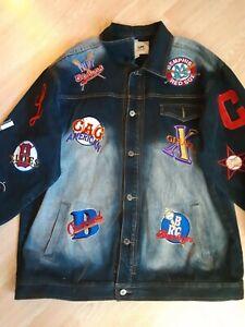 Negro Leagues Baseball Denim Jean Jacket Headgear Patches Size XXXL 100% Cotton