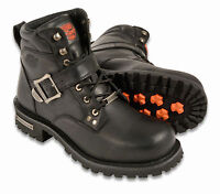 "Mens Black Leather Boots, 6"" Tall, Side Buckle, Plain Toe"