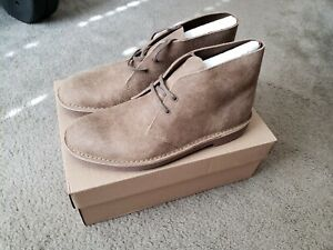 """Mens Clarks """"Bushacre 2"""" leather suede chukka boot - 13m Taupe (distressed)"""