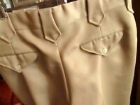34x28 True Vtg 70s Tan Cowboy Rancher POLYESTER BOOCUT KNIT FLARE PANTS denver