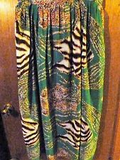 Woman's DIMRI Green Animal Print Pleated Lined Skirt Size 2X
