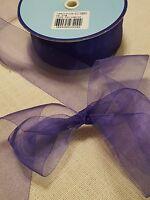 "Beautiful Purple sheer organza 1 1/2"" ribbon from France 20 yards"