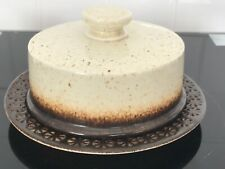 IDEN POTTERY STUDIO POTTERY RYE - LIDDED CHEESE PLATE / DISH