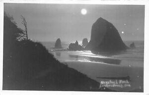 RPPC  Moonlit Haystack Rock Cannon Beach Oregon - Haworth Real Photo Postcard