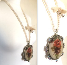 TOPSHOP SMART VINTAGE LOOK LARGE FLOWER CAMEO AND FAUX PEARL NECKLACE UNIQUE NEW
