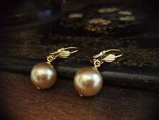 Vintage Oro, gota de perla redonda de ostra Gancho Pendientes Perforados