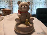 Vintage Otigiri Ceramic Teddy Bear Music Box Japan