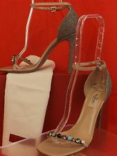 NIB VALENTINO NUDE GLITTER LEATHER JEWELED REAL STONES SANDALS PUMPS 37 $1745