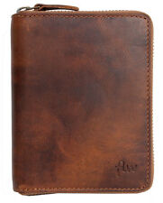 Men's natural strong genuine leather wallet with metal zipper around. Fast ship.