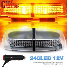 240LED 12V Emergency Warning Strobe Car Flashing Bar Magnetic Beacon Light Amber