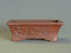 Tokoname Bonsai Pot Handmade Bigei Rectangle Dragon Brown 110*80*37mm T849