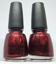 China Glaze Nail Polish RIVETER ROUGE 930 Wine Red Micro Glitter Shimmer Lacquer