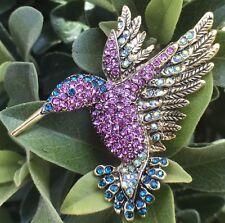 Crystal Rhinestone Hummingbird Bird Pin Brooch Fashion Jewelry Gold Tone Pendant