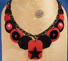 STAR Dog Tag RED & BLACK BAKELITE Button Mah Jong Octagonal Poker Chip NECKLACE