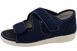 OrtoMed Klettsandale Senioren Blau Hausschuhe Schuhe 3x Klettverschluss