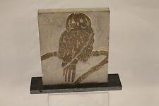 OWL  Bird Carved Marble Plaque Sculpture signed Dimitris Thomakos