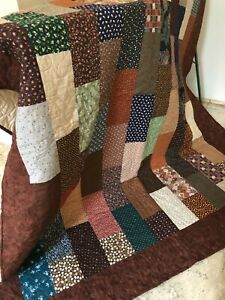 """Earth Tones Brick Quilt  Twin or Lap/Throw    60"""" X 76"""""""