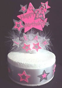 Bling Starburst Cake Topper Any Age & a Name*  1st 18th 21st 30 40 50 60 70 +