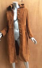 Womens vintage brown suede toggle coat, jacket, hooded, 70's, boho chic, tie!!