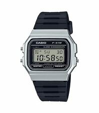 CASUAL DIGITAL WATCH WITH BLACK RUBBER STRAP AND SILVER PLATED CASE F-91WM-7AEF