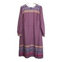 LOFT Lightweight Bohemian Print Long Sleeve Dress Women's Size 16 Multicolor