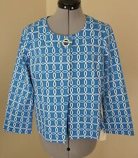 NEW CHARTER CLUB BLUE AND WHITE COTTON/SPANDEX SWING CROPPED JACKET- SIZE MEDIUM
